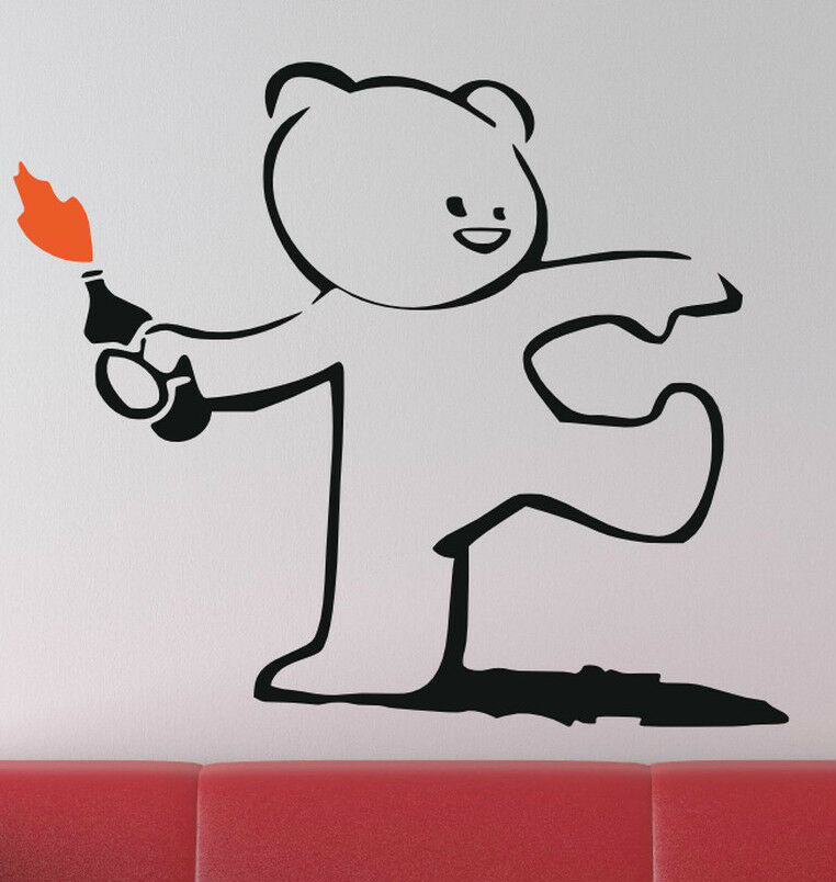 Banksy Graffiti Molotov Throwing Teddy Bear Art Vinyl Wall
