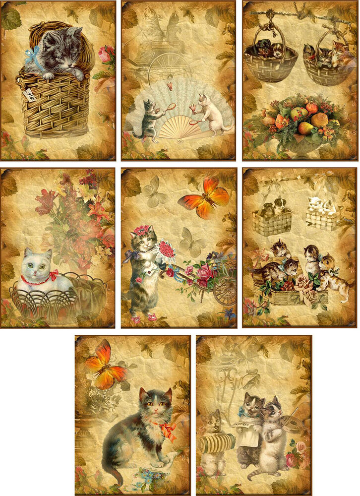 vintage inspired cats small note cards tags set of 8 with