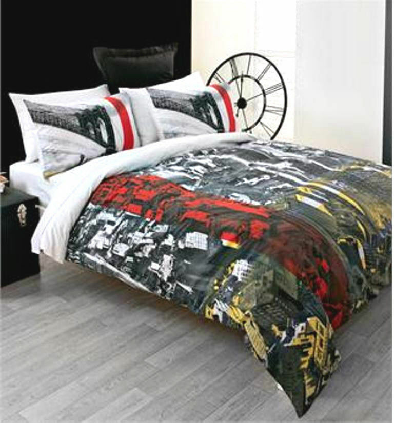 New york city scape skyline brooklyn bridge king cotton for Brooklyn bedding store