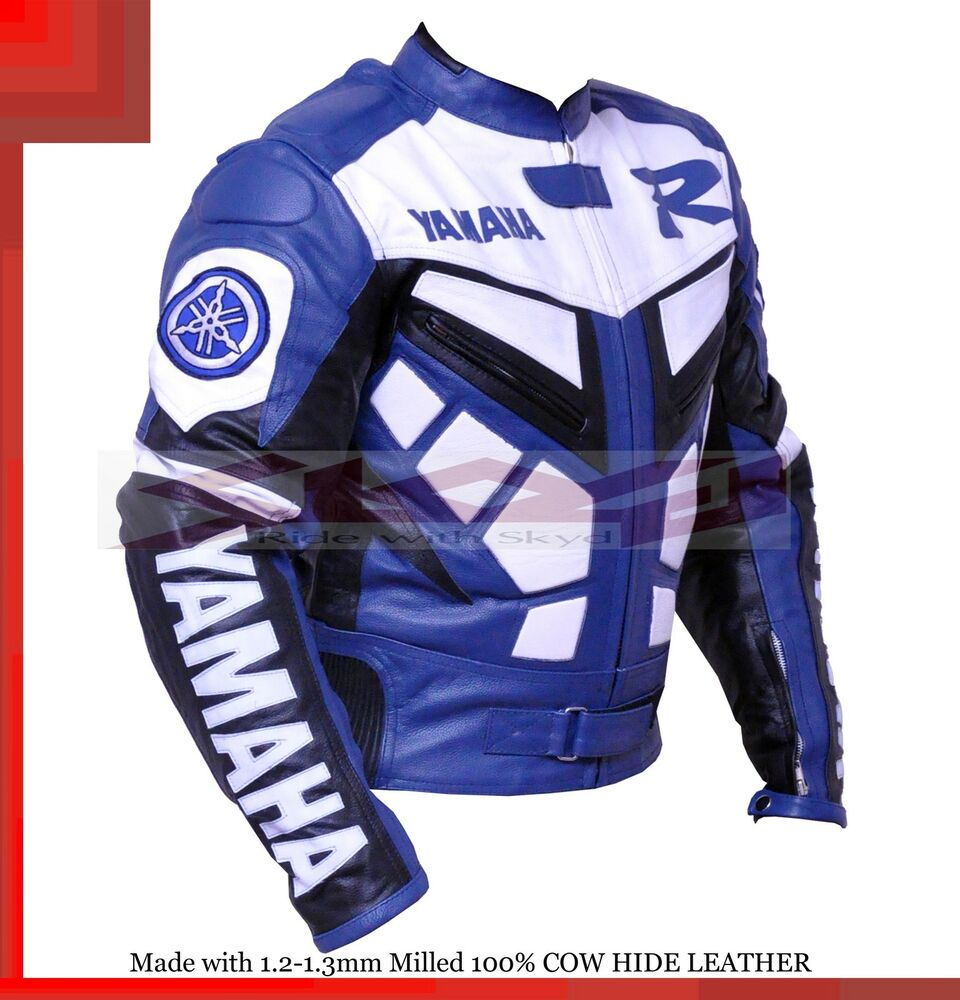 Yamaha R1 Blue Racing Leather Motorcycle Jacket With Hump