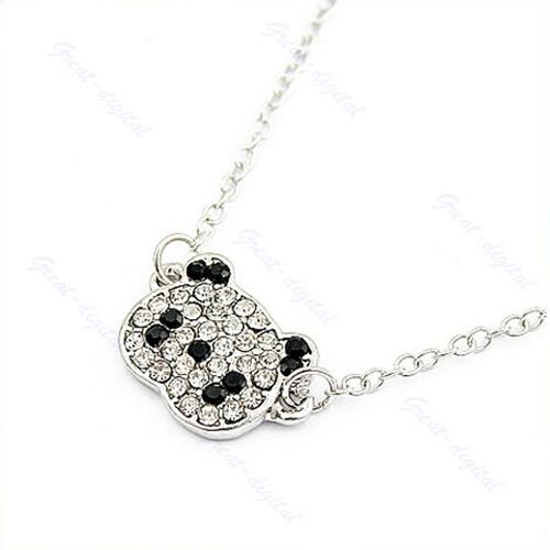 Lovely glitter rhinestone panda cute necklace chain for for Cute jewelry for girlfriend