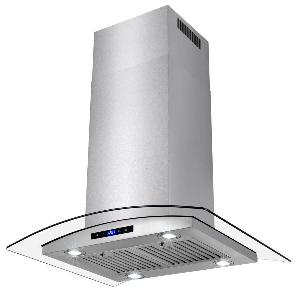 """30"""" Contemporary Island Mount Canopy Stainless Steel Range ..."""