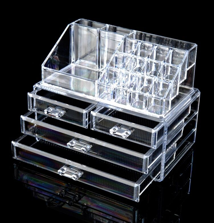 cosmetics organizer luxury crystal acrylic makeup. Black Bedroom Furniture Sets. Home Design Ideas