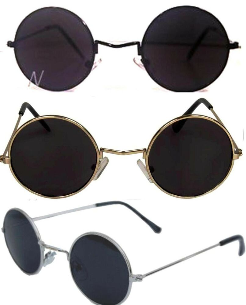 john lennon sunglasses round shades retro black or silver frame smoked lenses ebay