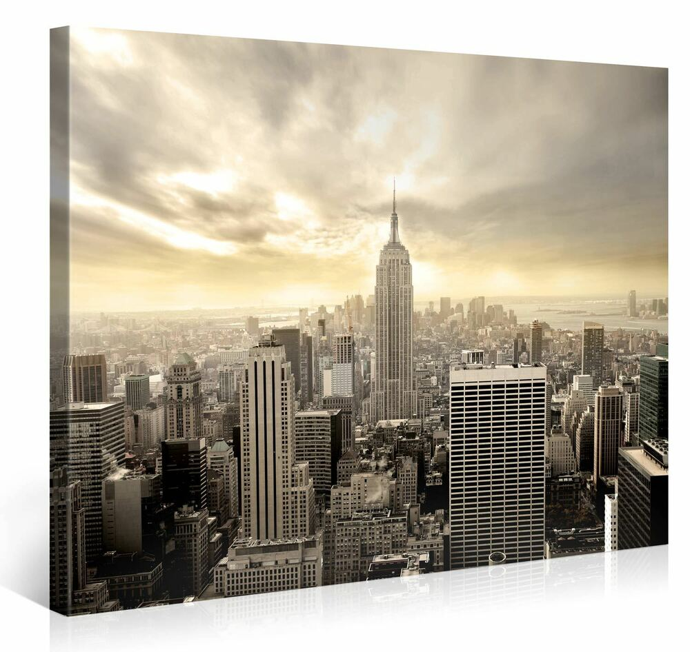 empire state building 100x75cm bilder kunst leinwand druck new york art e3411 ebay. Black Bedroom Furniture Sets. Home Design Ideas
