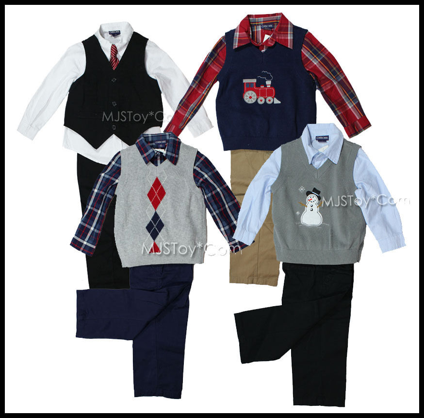 cherokee boy complete dressy outfit vest pants long sleeve shirt cute