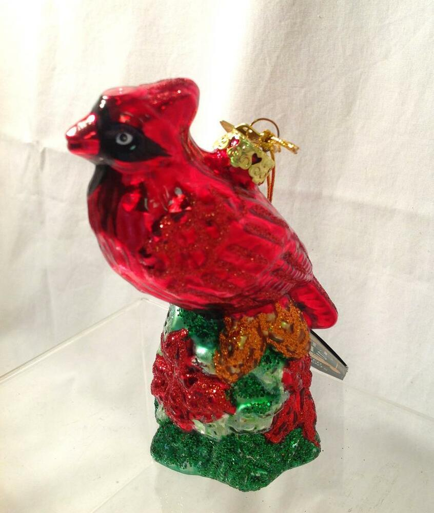 kurt adler noble gems cardinal glass christmas holiday ornament red bird tree ebay. Black Bedroom Furniture Sets. Home Design Ideas