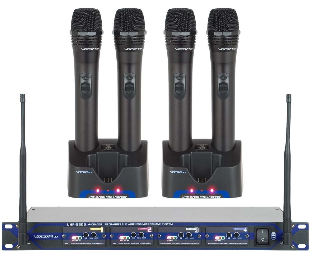 vocopro uhf 5805 4 channel rechargeable wireless microphone fcc mandated w case 888365181899 ebay. Black Bedroom Furniture Sets. Home Design Ideas