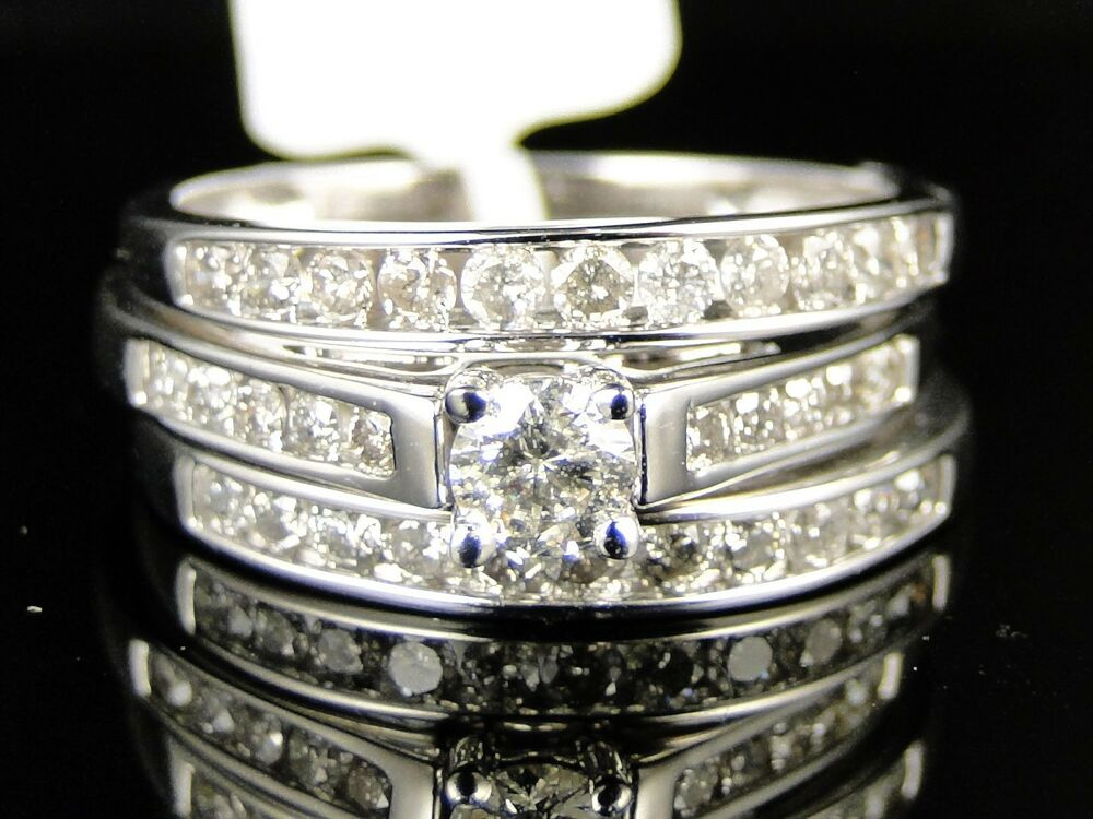 wedding ring sets for her 14k white gold bridal engagement wedding band 9991