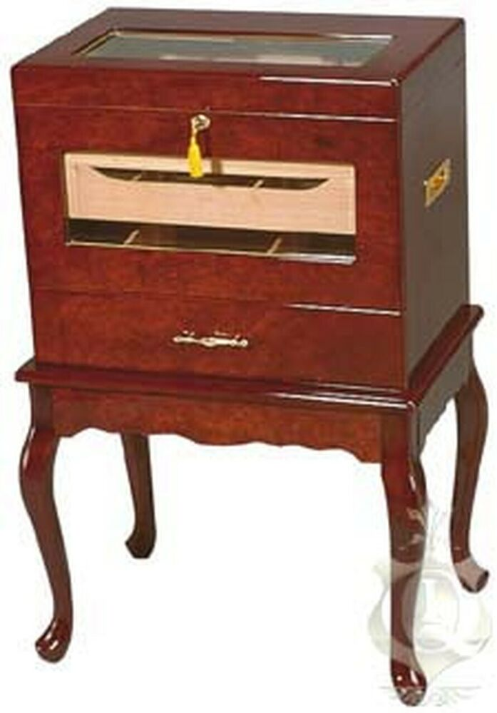 Humidor Furniture CIGAR HUMIDOR Victoria 500 ct Large Capacity Table Glasstop Rosewood ...