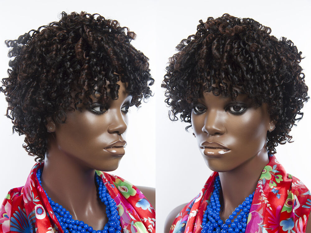 Short Curly Wig Features Tight Spiral Curls Medium Length