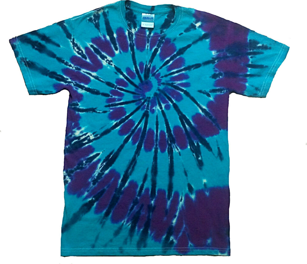 Tie Dye T Shirt All Sizes Blue And Purple Hand Crafted In