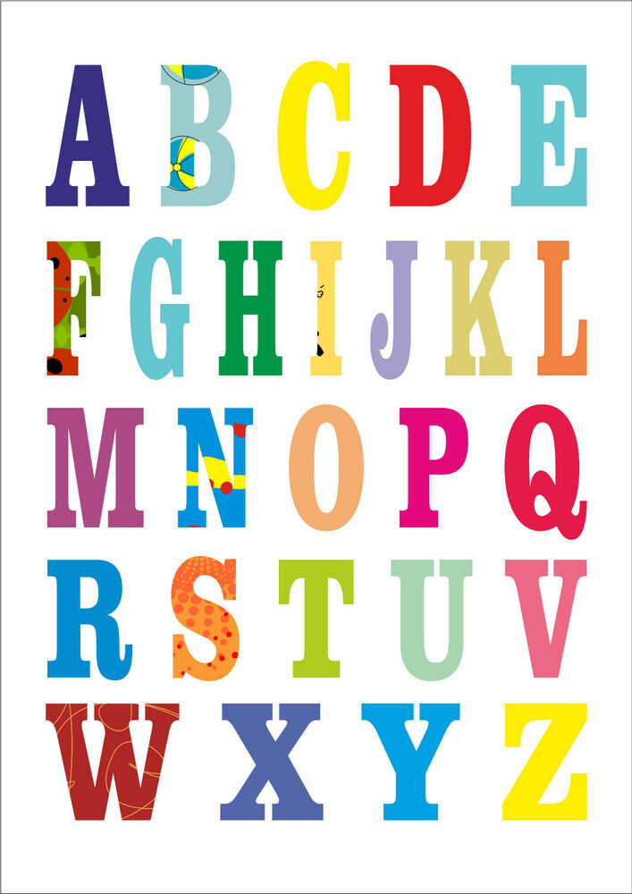 multi coloured alphabet print poster a4 size ebay. Black Bedroom Furniture Sets. Home Design Ideas