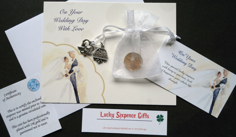 Wedding Day Gift Card : WEDDING DAY GIFT - 24k GOLD PLATED LUCKY SIXPENCE GIFT, CARD AND CHARM ...