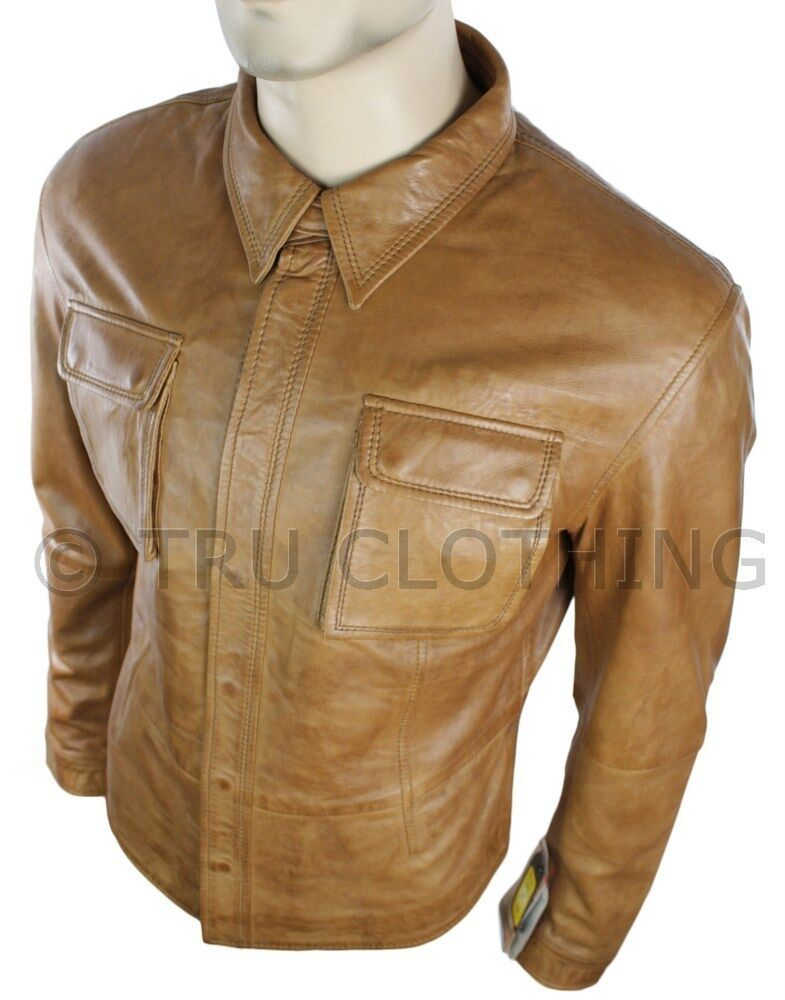 Mens fitted vintage shirt style retro leather jacket tan for Leather jacket and shirt
