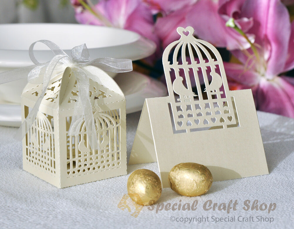 Luxury 10 Wedding Favour Boxes Bags & 10 Name Place Cards