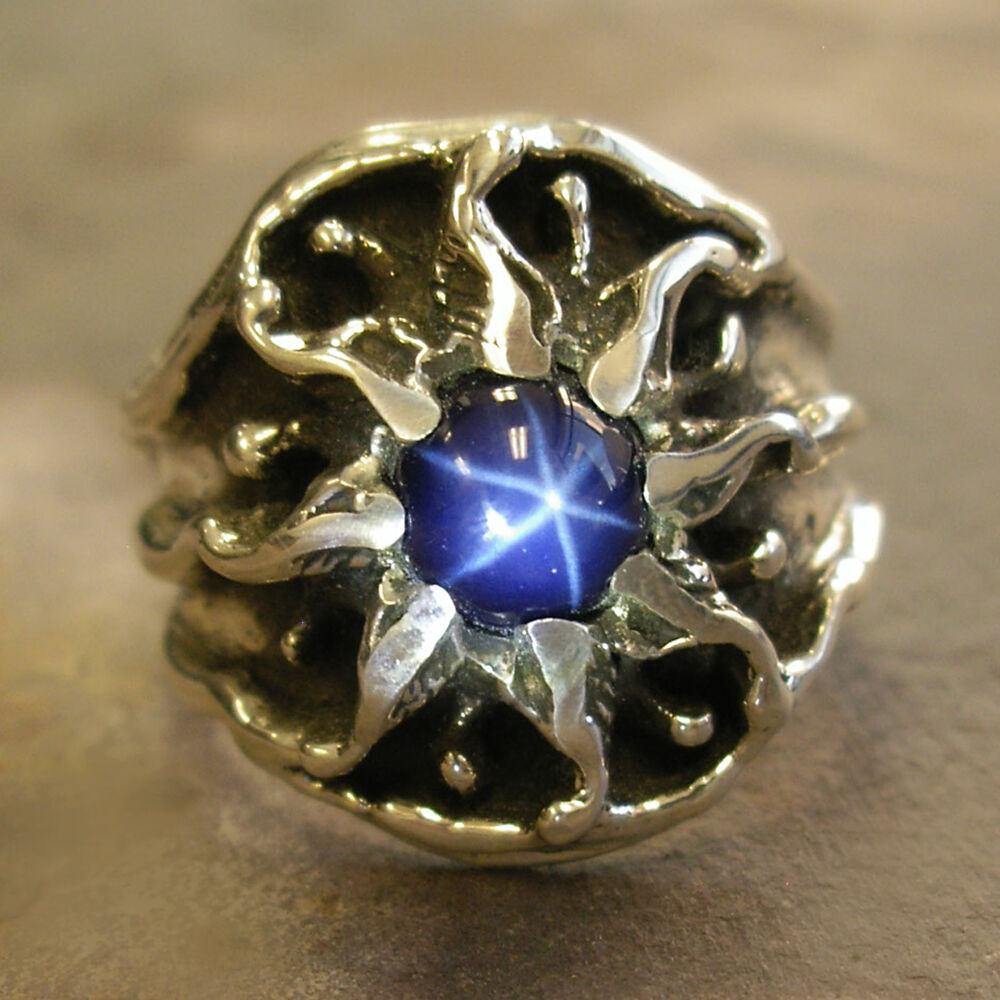 unique custom mens silver sunburst ring with a star. Black Bedroom Furniture Sets. Home Design Ideas