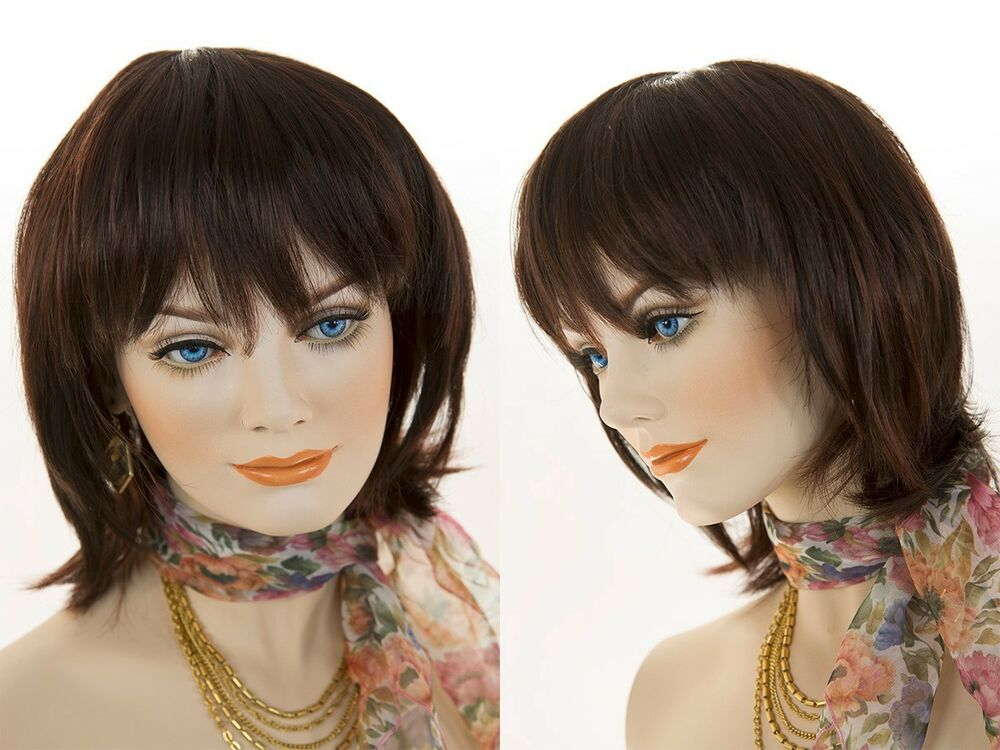 Mid Length Straight Layered Shag Style Brunette Wigs With