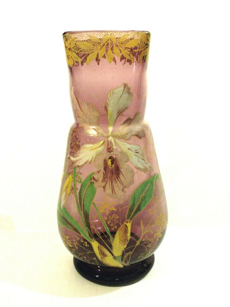 Gorgeous mont joye french art glass vase with heavy for Advanced molding and decoration s a de c v