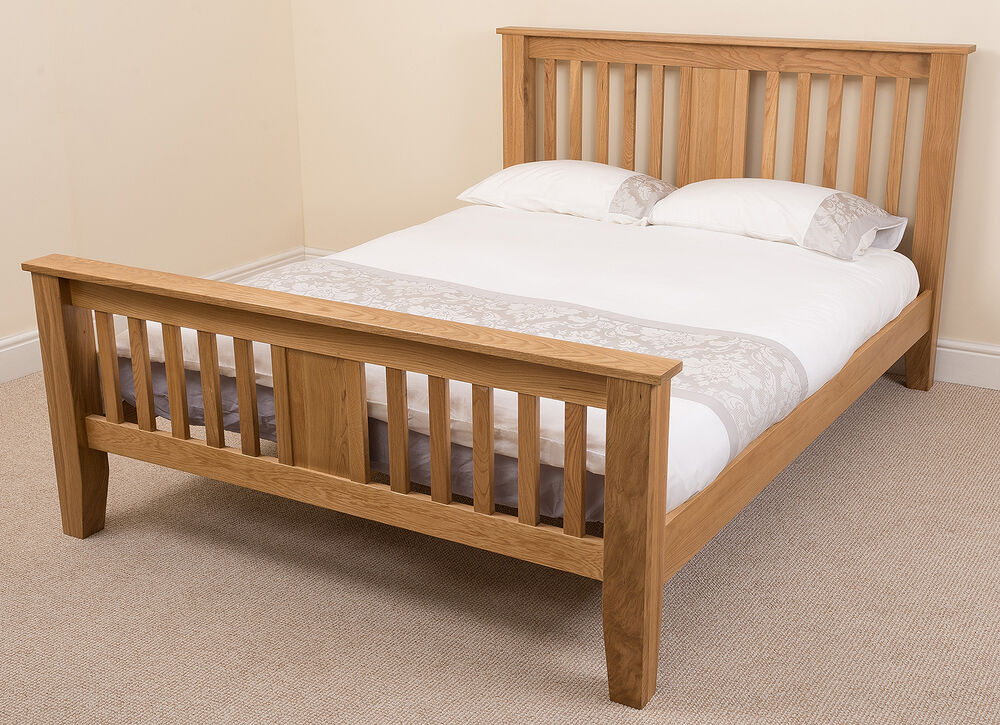 Boston solid oak wood 5ft king size bed frame bedroom for Wood bed frames for king size beds