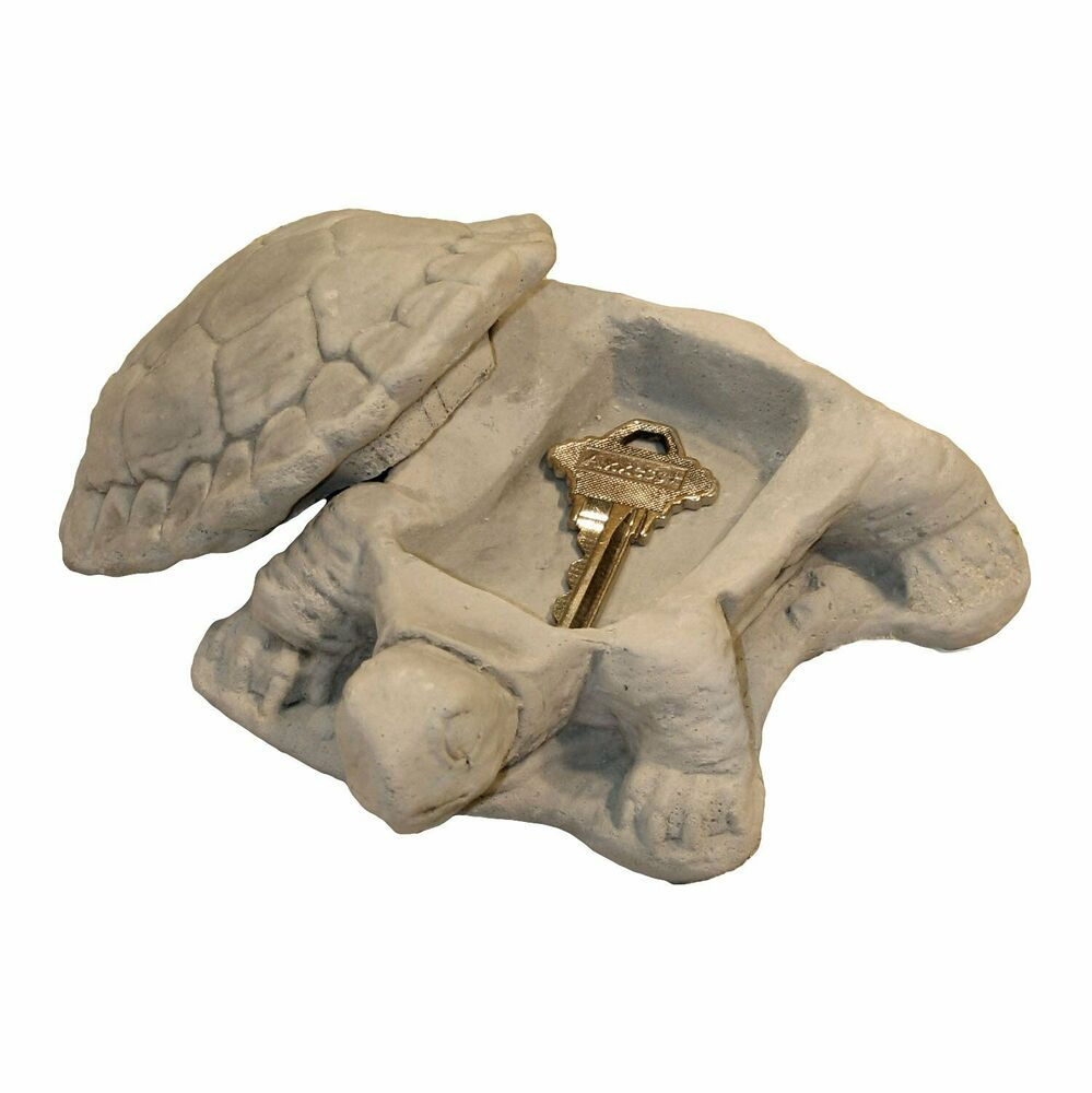 Cast stone cement turtle keyholder statue outdoor garden