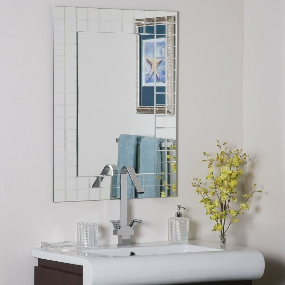 Frameless wall mirror vgroove beveled bathroom ebay for Bathroom wall mirrors