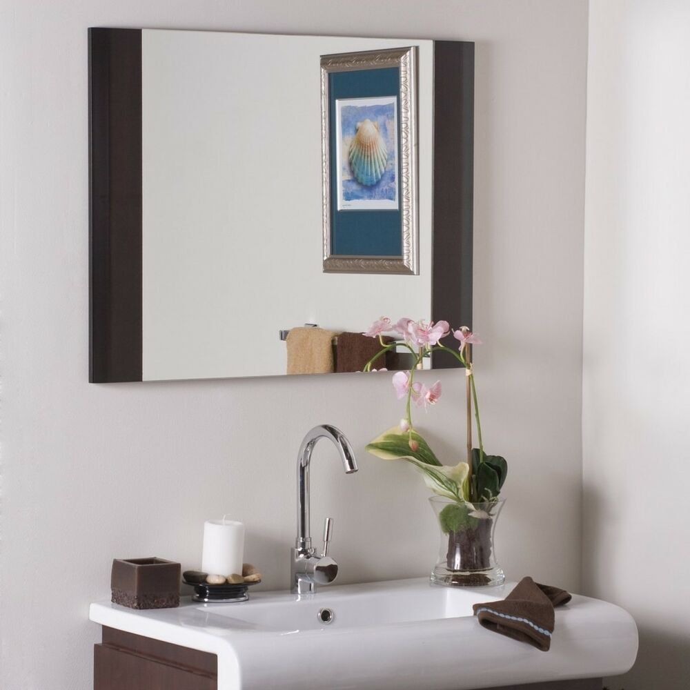 Espresso Framed Wood Wall Bathroom Mirror Hall Designer