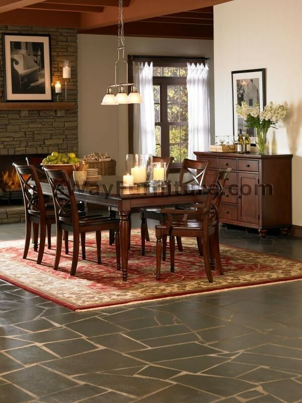 7 Pc Brown Cherry Formal Dining Room Table Furniture Ebay