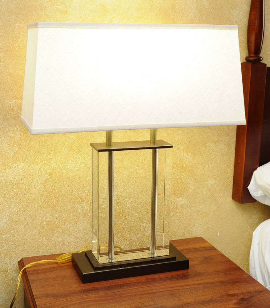 Crystal Glass Table Lamp With Double Lamp Linen Shade And