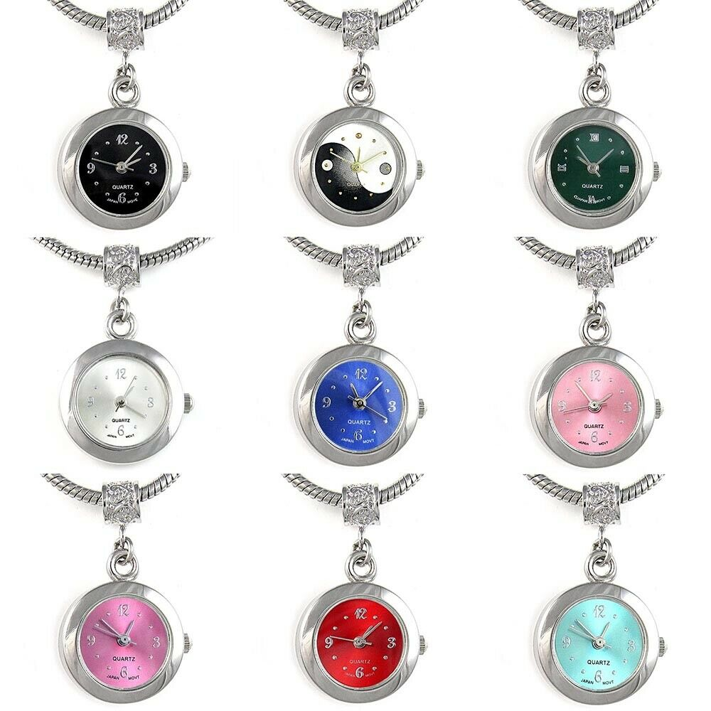 Bead Charms For Bracelets: Silver Dangle European Quartz Watch Spacer Charm Bead For