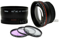 58mm 0.43X Wide Angle + 2.2x Telephoto Lens + Filter Kit UV +CPL +F-DL