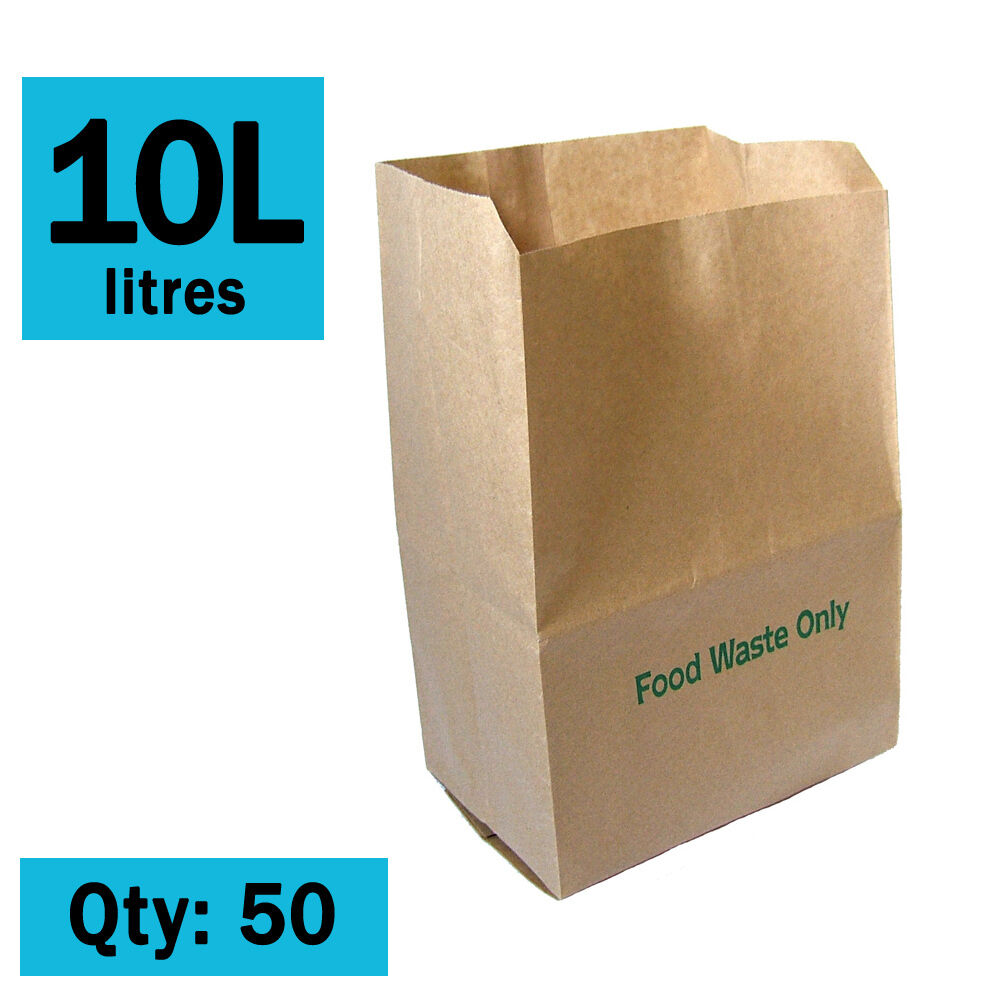 Paper Compostable Kitchen Caddy Bags Ecosack 50x 10 L