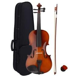 Christmas Gift Acoustic Violin 4/4 Full Size with Case and Bow Rosin Natural