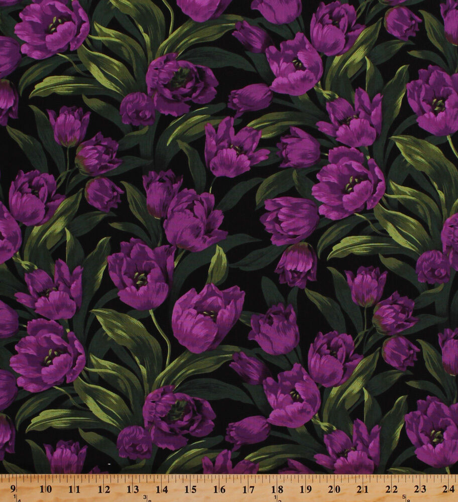 Cotton Purple Baby Tulips Floral Flowers Gardening Ruby