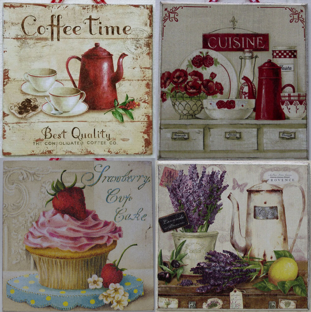 Shabby Chic Kitchen Accessories Uk: Shabby Chic Wood Picture Plaque Kitchen Decor Original New