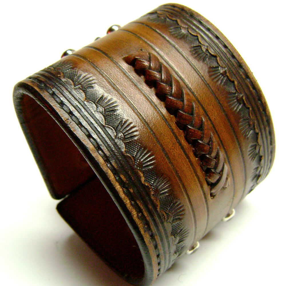 Cuff Bangle Bracelet: Leather Cuff American *Cowboy* ROCKSTAR Bracelet Band*!