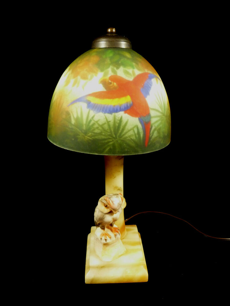 Vintage Alabaster Owl Lamp With Fantastic Hand Painted