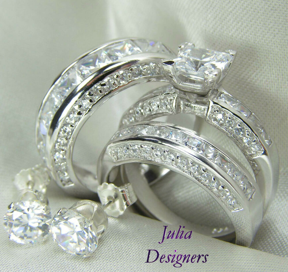 His Her Matching 3pcs Engagement Wedding Ring Set Sterling Silver Size
