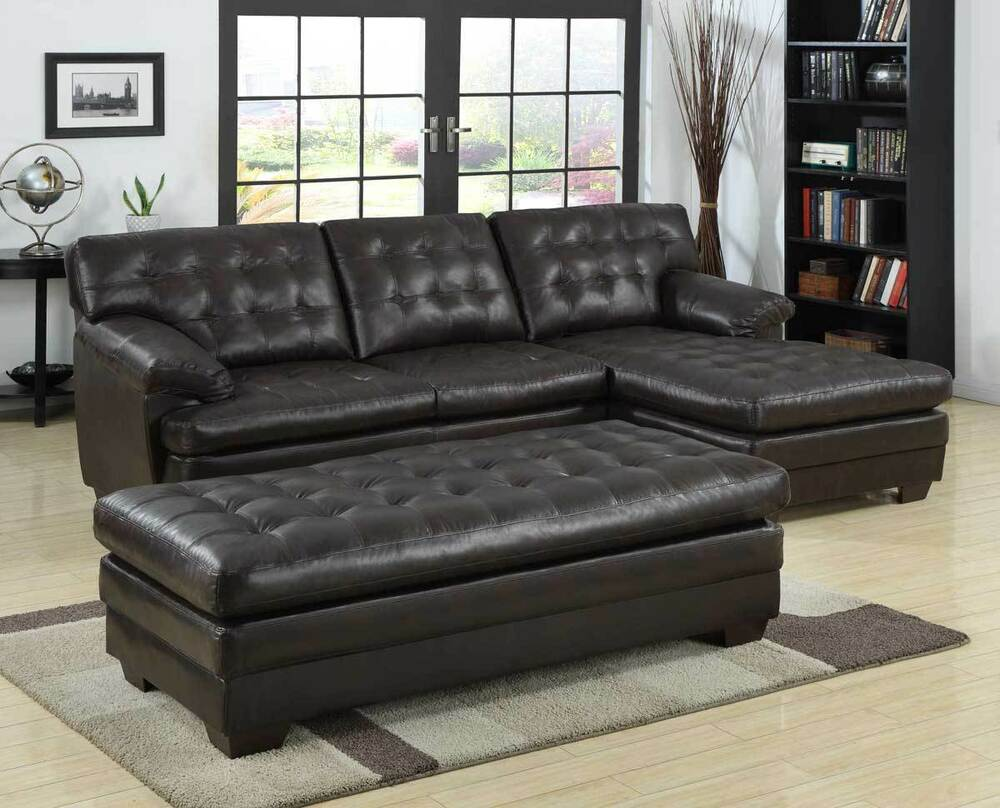 Luxurious bonded leather brown sofa chaise sectional set for Bonded leather sectional with chaise