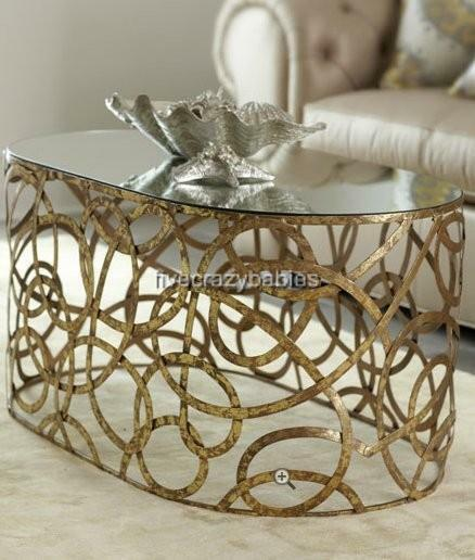 Neiman Marcus Mirror Top Iron Swirl Scroll Coffee Cocktail Table Gold Modern Ebay