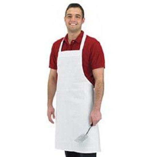 1 WHITE COTTON RESTAURANT KITCHEN BIB APRONS 100% COTTON