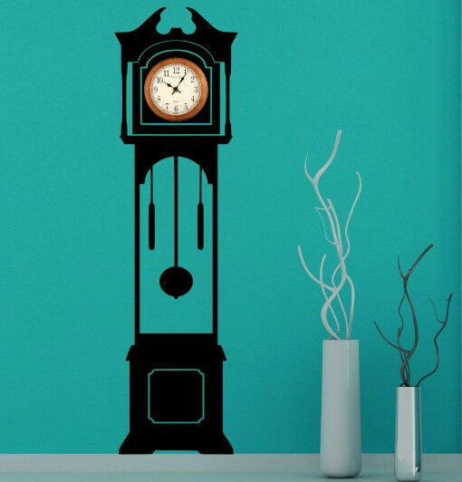 Grandfather clock silhouette decal clock background wall stickers decor new ebay - Wall hanging grandfather clock ...