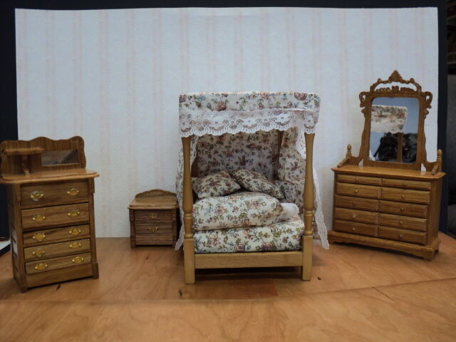 miniature solid oak 4 pc canopy bedroom set w floral bedding ebay
