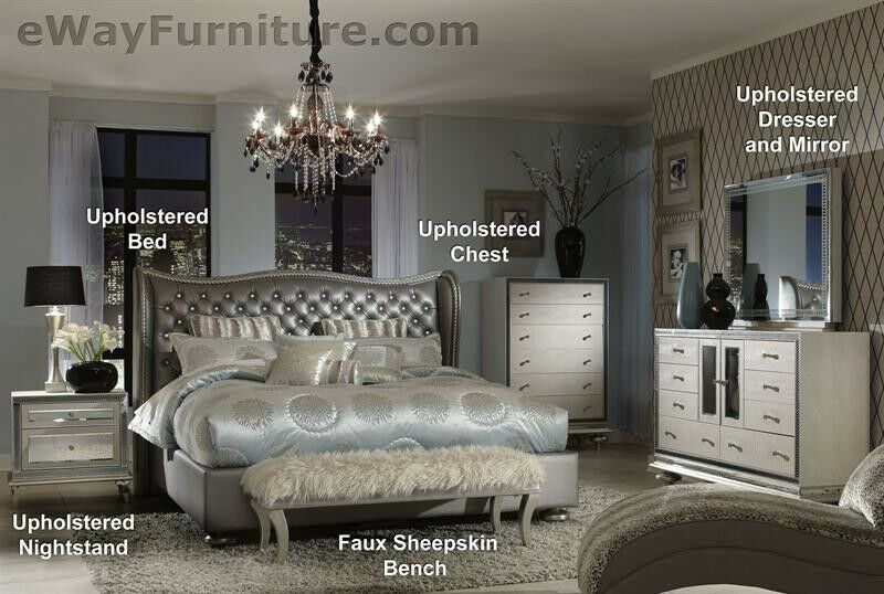 queen bed 5pc set 2 nightstands dresser mirror furniture ebay
