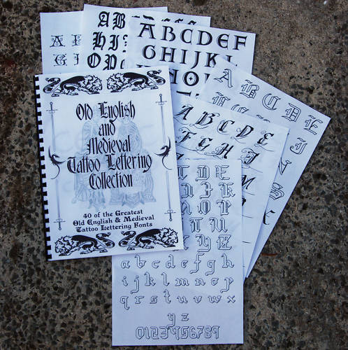 Old English Book Cover Font : Book of old english medieval tattoo lettering fonts ebay