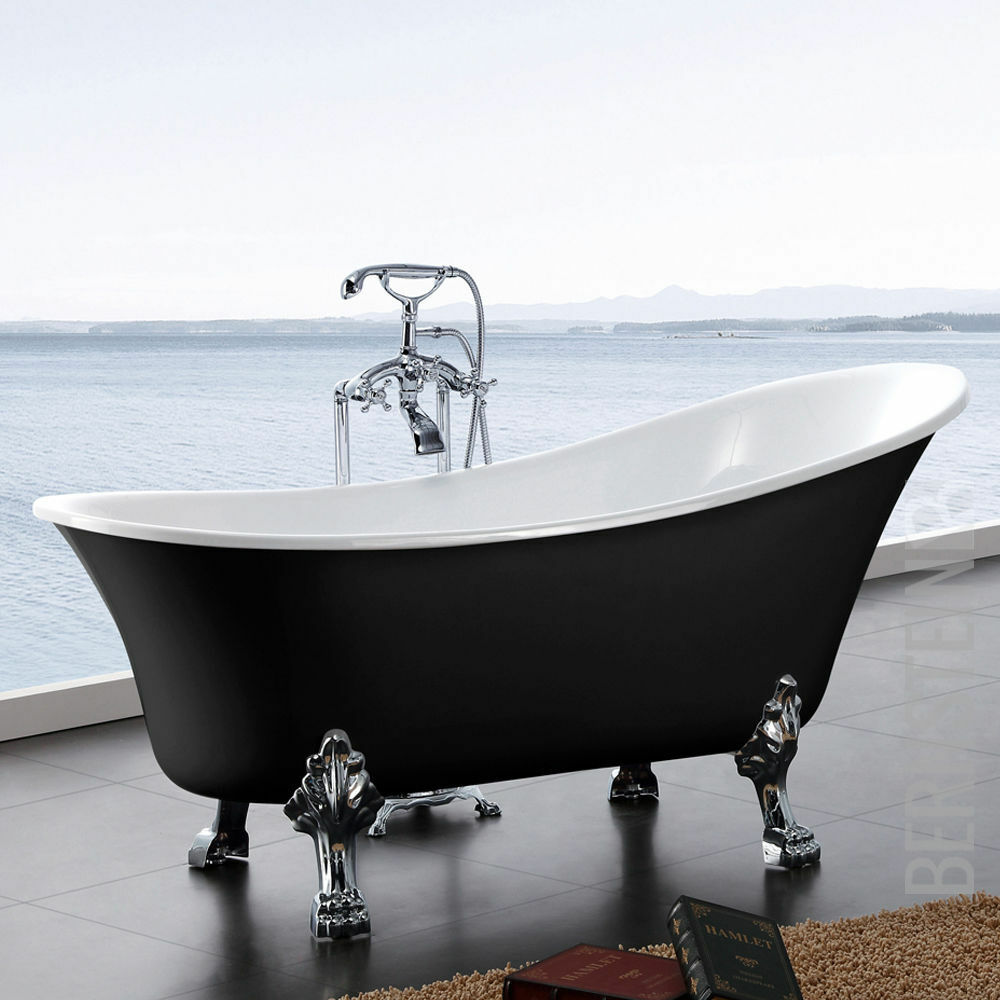 freistehende badewanne paris acryl 176x71 schwarz inkl 4250347307812 ebay. Black Bedroom Furniture Sets. Home Design Ideas