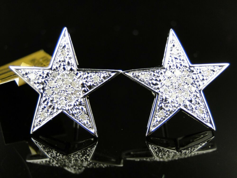 white gold 10k xl 17 mm diamond star stud earrings 1 2 ct. Black Bedroom Furniture Sets. Home Design Ideas