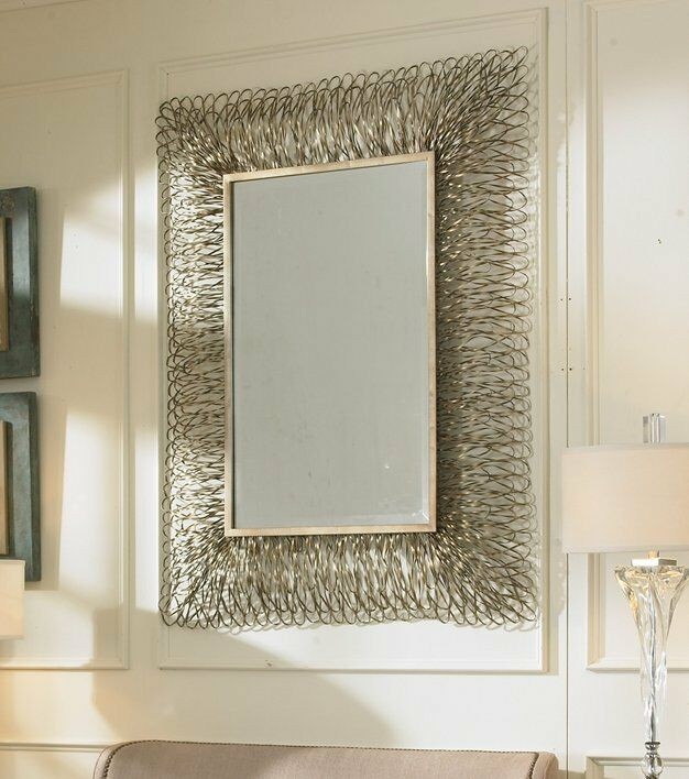 Contemporary 56 silver frayed shredded metal wall mirror for Large silver modern mirror