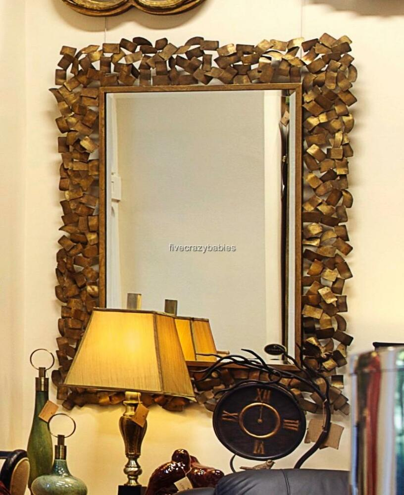 Contemporary gold messed metal wall mirror modern extra for Large contemporary mirrors