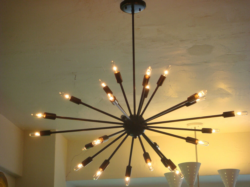 Oil rubbed bronze sputnik starburst light fixture chandelier large filament bulb ebay - Light fixtures chandeliers ...